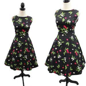VTG 50s Style Hepburn Cherry Print Swing Dress